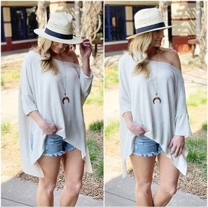 Light Gray Dropped Shoulder Slouchy Soft Tunic